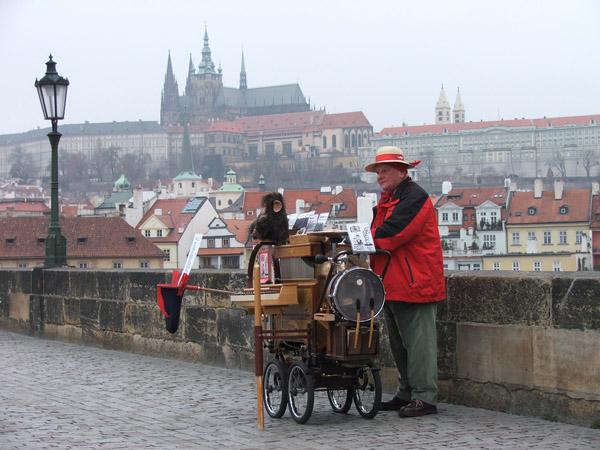 Музыкант на Карловом мосту в Праге